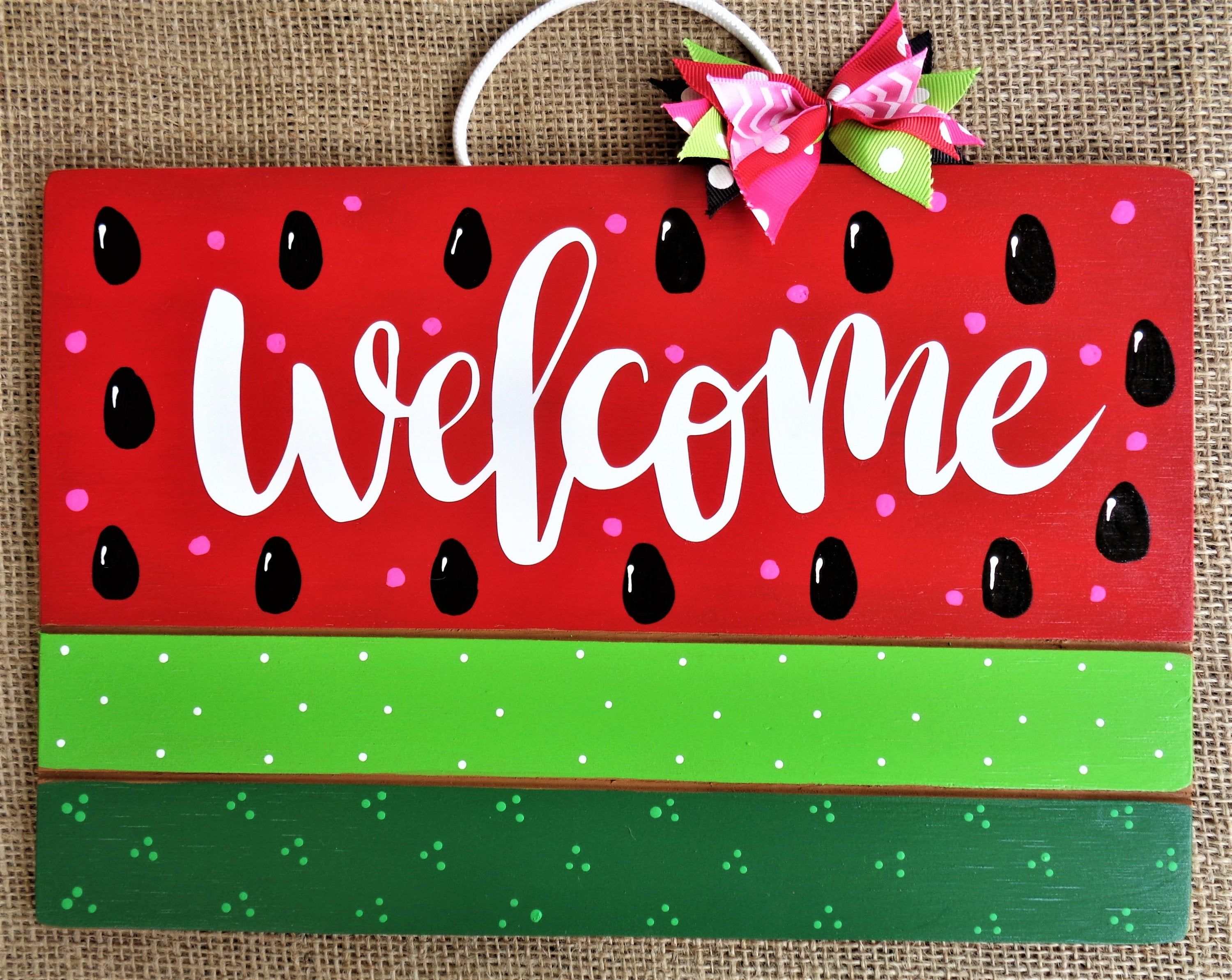 Pin By 3craftymillers On Watermelon Theme In 2020 Hand Painted Decor Decks And Porches Wall Signs