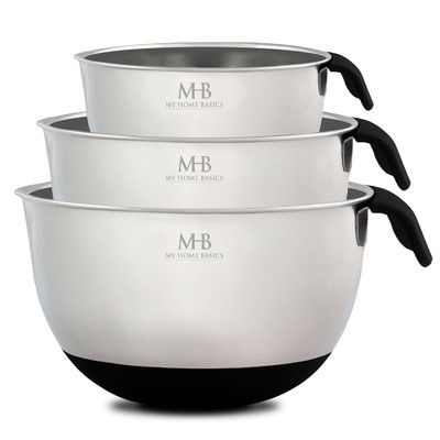 My Home Basics 3-Piece Stainless Steel Mixing Bowl Set