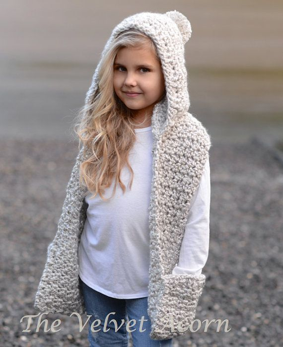 Crochet PATTERN-The Summit Hooded Scarf (12/18 month,Toddler, Child ...