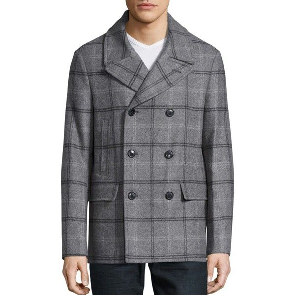 Michael Kors Wool-Blend Plaid Peacoat ($695) ❤ liked on Polyvore ...
