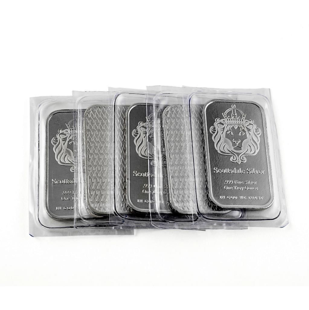 5 X 1 Oz 034 The One 034 Silver Bar By Scottsdale Silver 999 Fine Silver A393 Ebay Silver Bars Fine Silver Silver