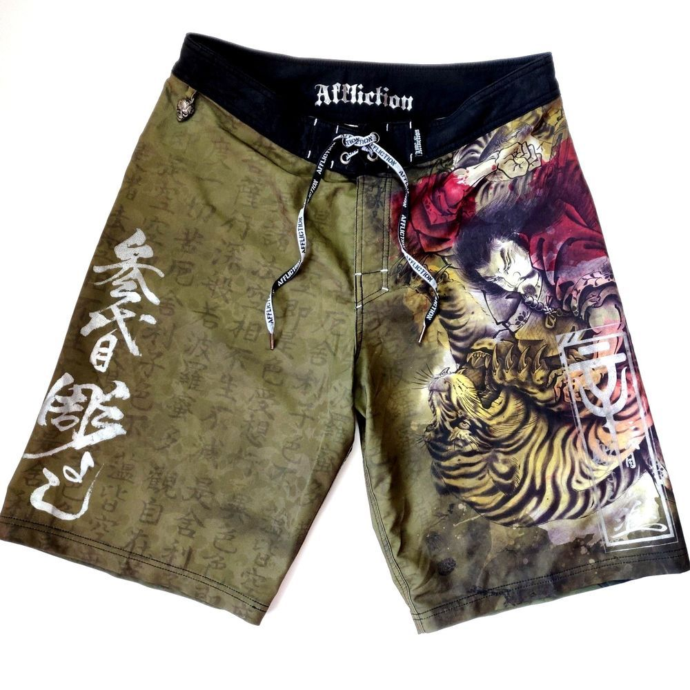 4d6541ac6f AFFLICTION Board Shorts Size 34 Samurai & Tiger Swim Trunks Asian Horiyoshi  #Affliction #BoardShorts
