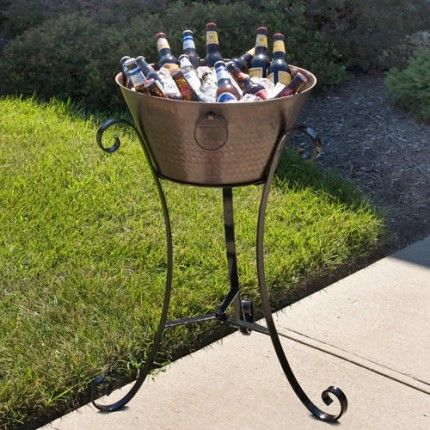 Hammered Copper Beverage Tub On Wrought Iron Stand