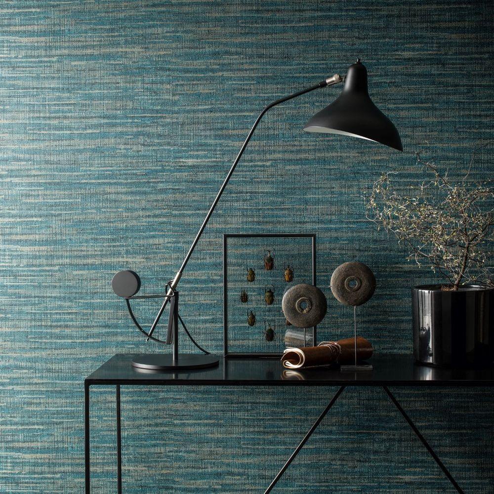 Saffiano Deep Teal Grasscloth Wallpaper Texture Paste the