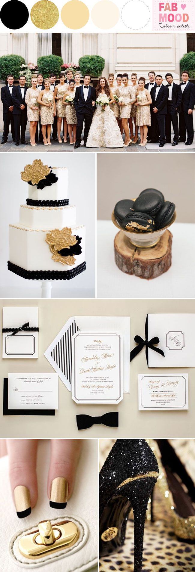 Black white gold wedding colors style board pinterest wedding