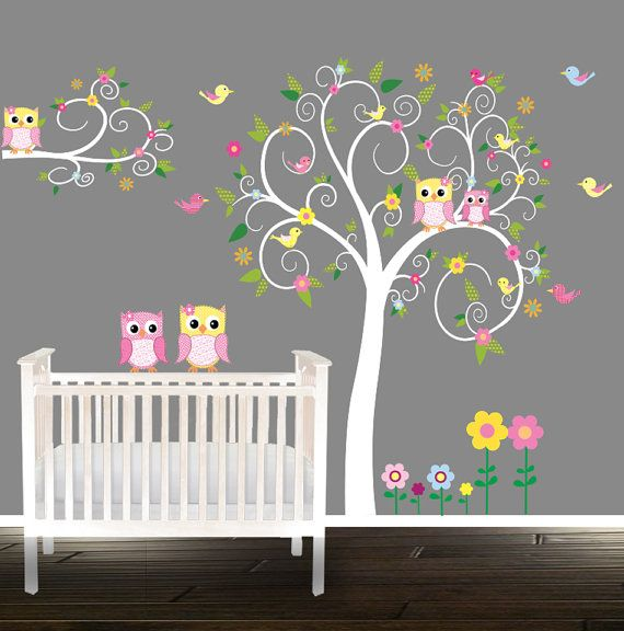 Wall Decal Nursery Owl Baby Decals Personalized Name