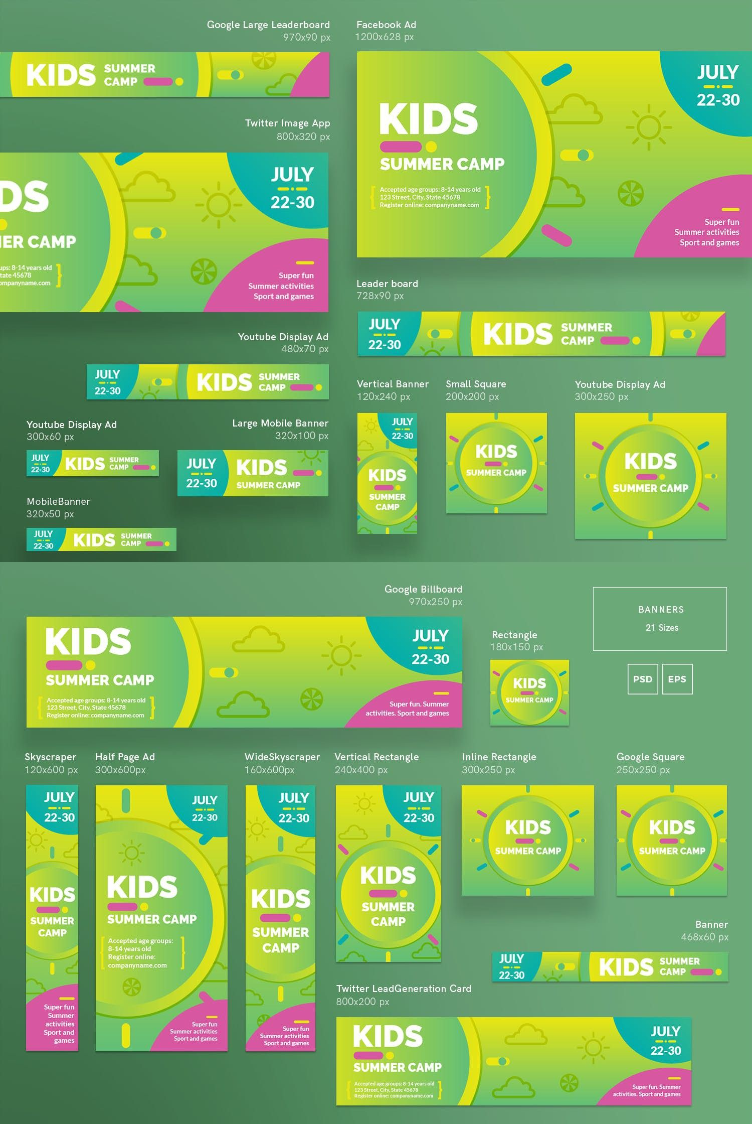 Kids Summer Camp Banner Pack Template Camps For Website