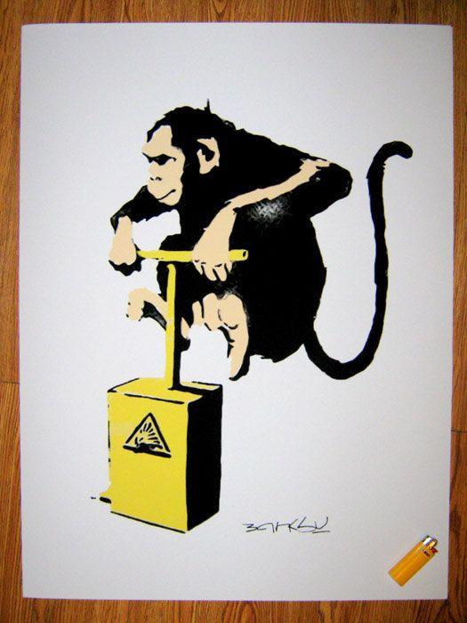 banksy custom print poster 18x24 monkey tnt for joshua s room