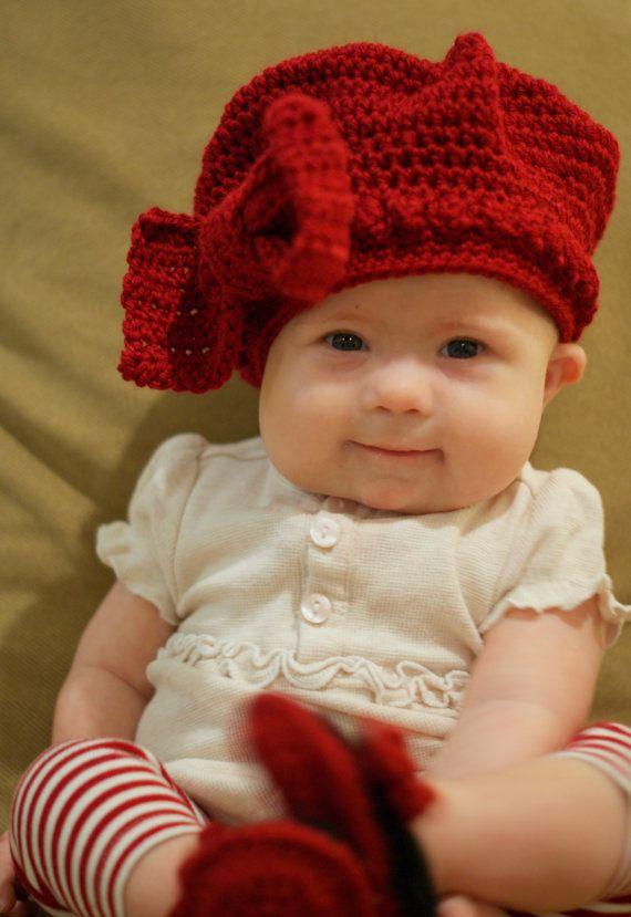 Red Baby Beret with Big Bow for Baby Girl b48bea3d3b3