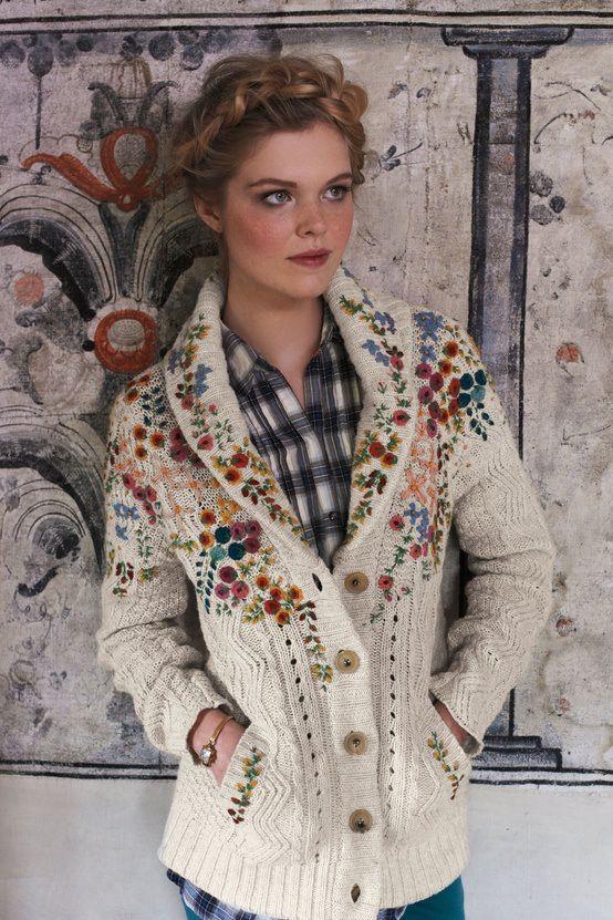 cbb58172a49f DIY Embroidered Cardigan | DIY Knitting 3 | Floral sweater, Crewel ...