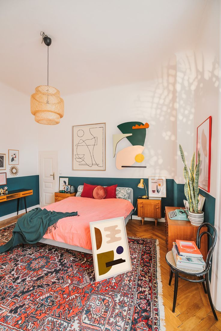 Cozy boho bedroom with abstract art