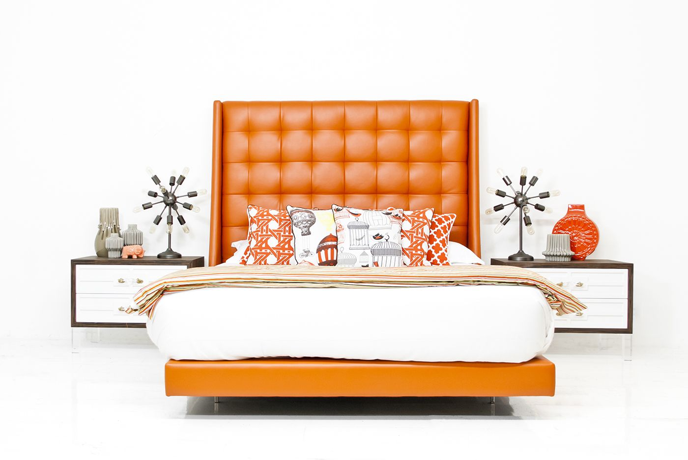 St Tropez Bed In Hermes Orange Faux Leather Queen Upholstered