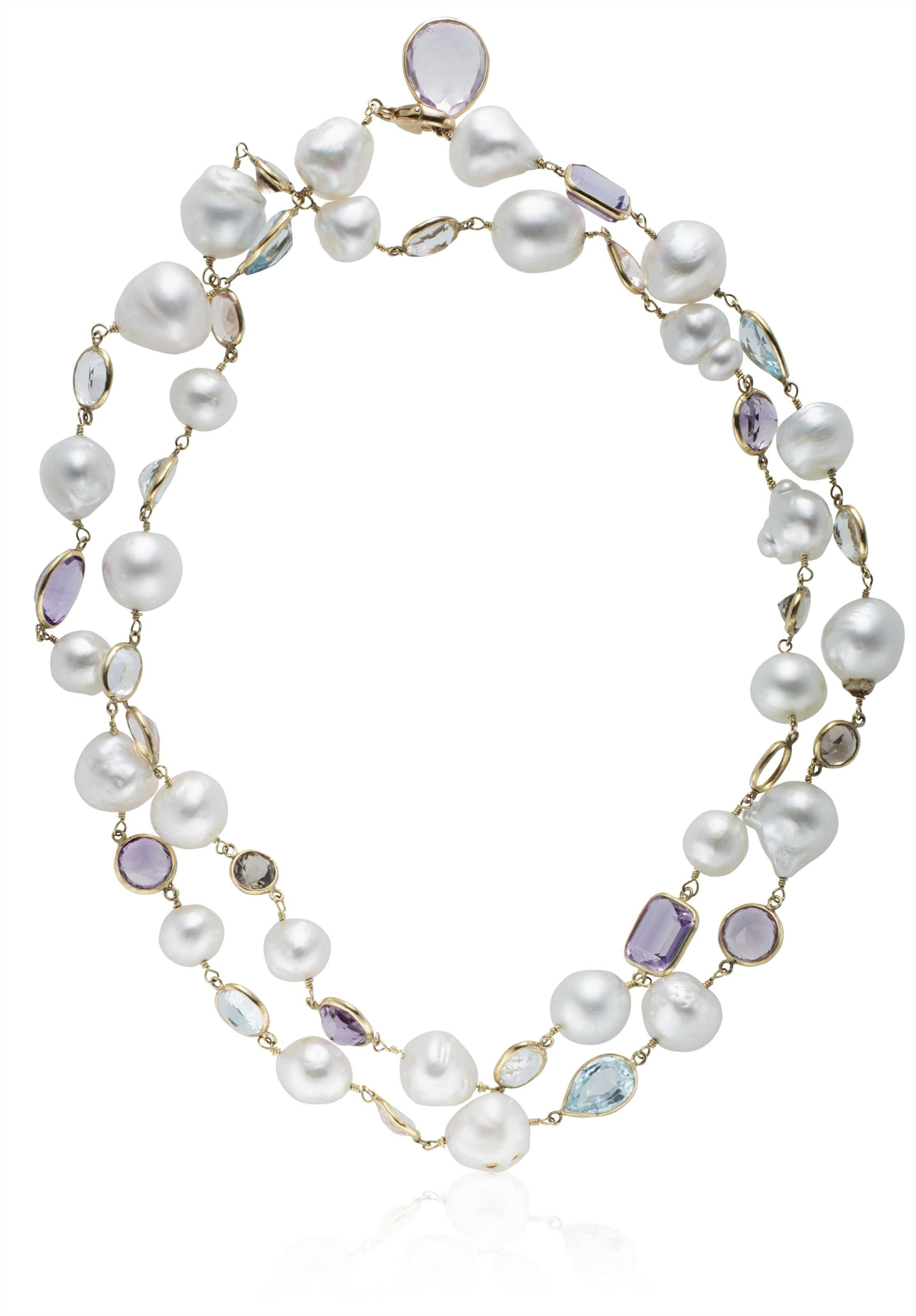 b98ba0869 BAROQUE CULTURED PEARL AND MULTI-GEM NECKLACE Christie's Christie's Jewels  online