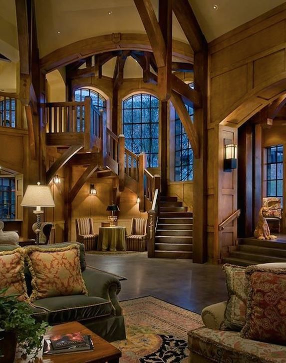 Staircase & living room, vaulted ceilings, rustic
