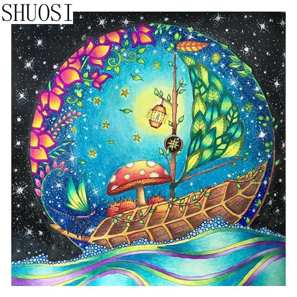 5d Diamond Painting Dragonfly Voyage Kit Enchanted Forest Coloring Enchanted Forest Coloring Book Forest Coloring Book