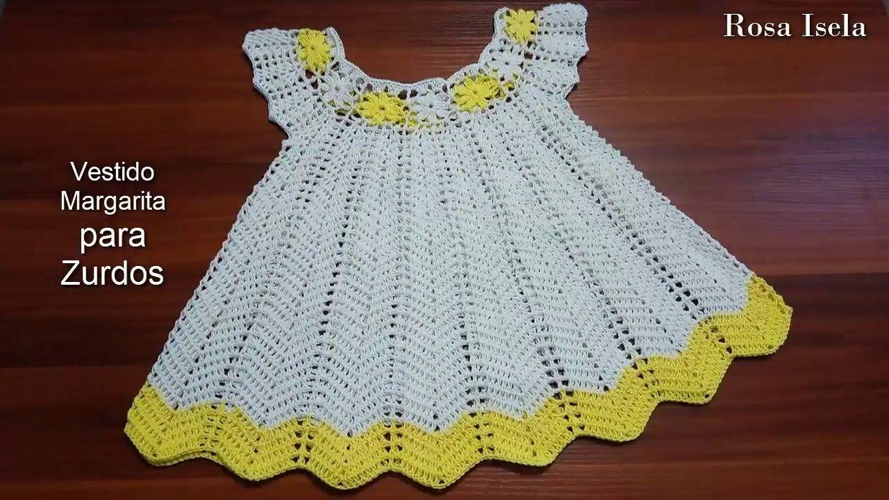 965dfa296f41 Vestido Margarita talla 3 a 4 años Zurdos Saia De Bebê, Vestido De Crochê  Para