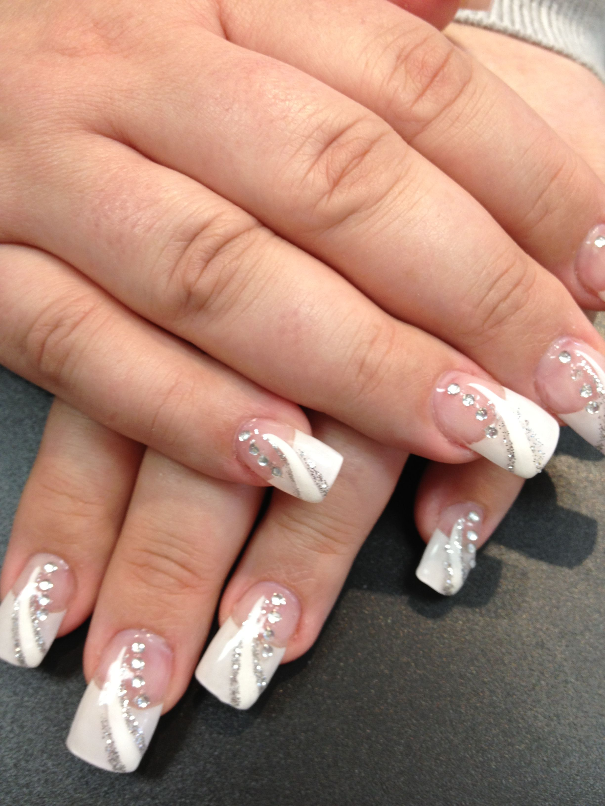 Solar nails French tips with white and silver design | Women\'s ...