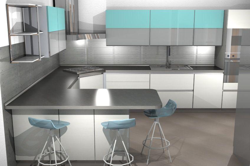 Cucina TETRIX componibile grigio e azzurro Scavolini by #Scavolini ...