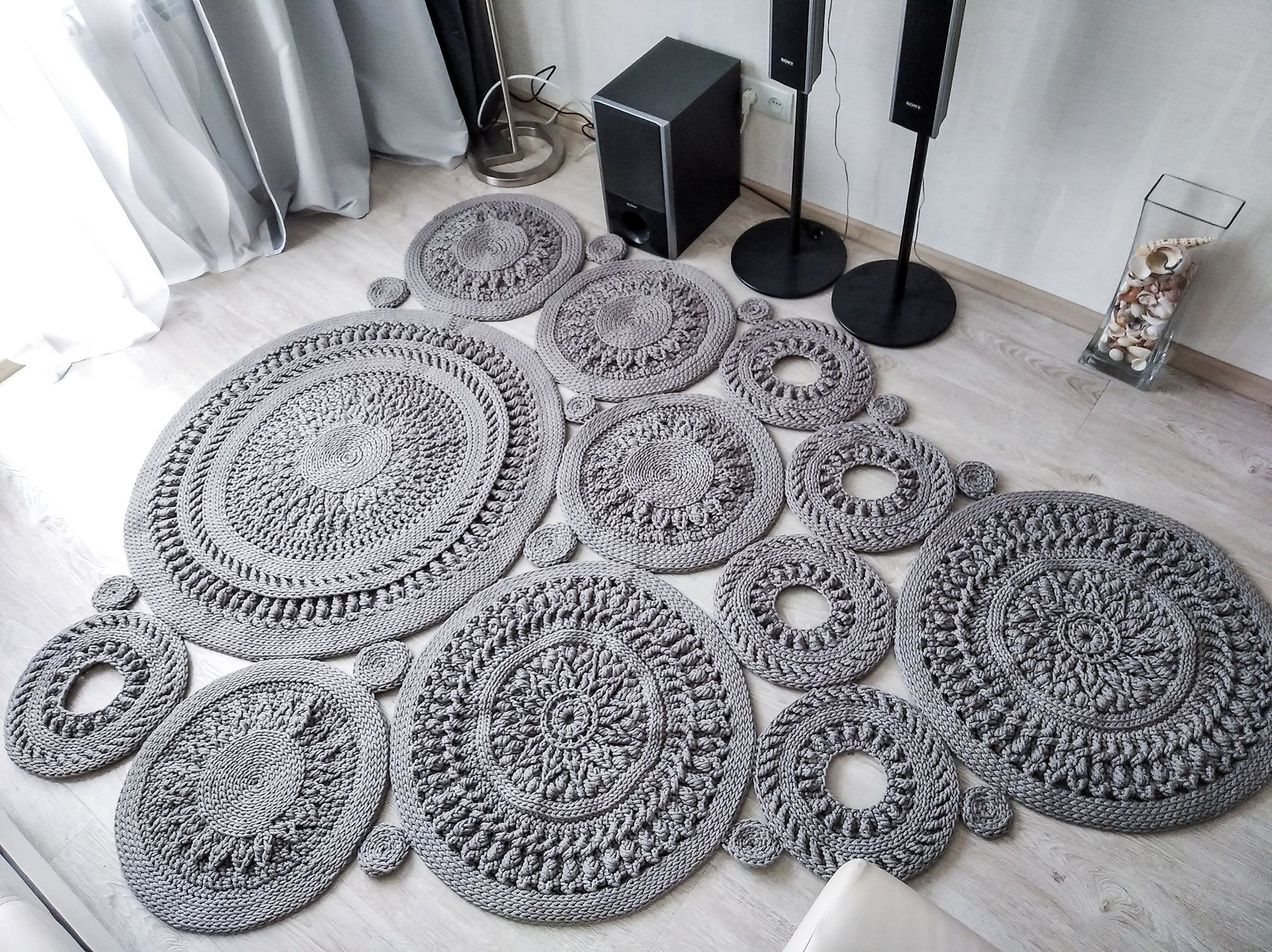 Big Crochet Area Rug 98 1 2 H 76 3 4 In Doily Rug Yarn Lace Mat Rustic Floor Decor By Lacemats Lacecoins In 2020 Rustic Flooring Rugs Doily Rug