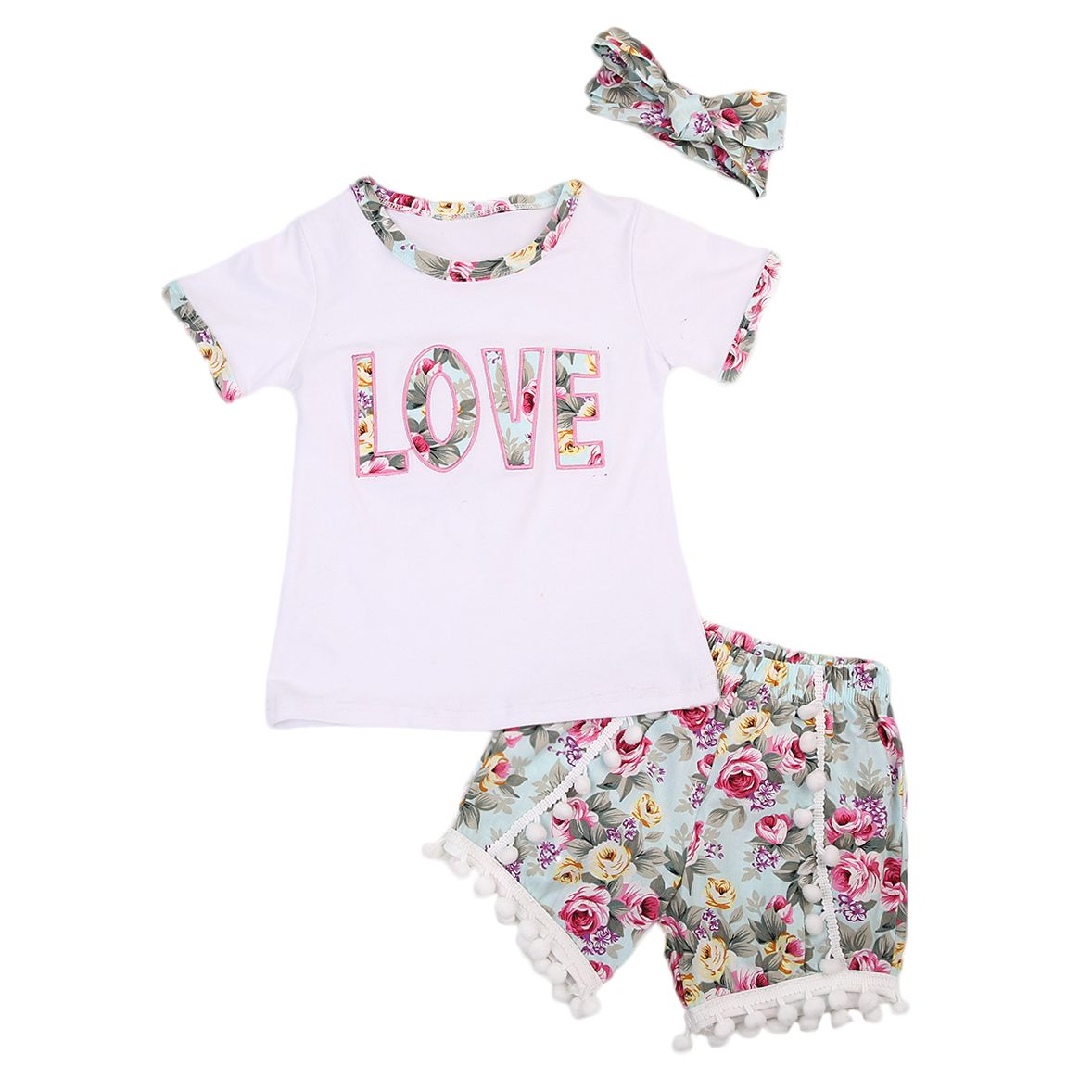 26ea87764833 LOVE 3 Pcs Summer Toddler Kids Baby Girl Letter Floral T-shirt Top+Flower  Shorts+Headband Clothing Set Outfits
