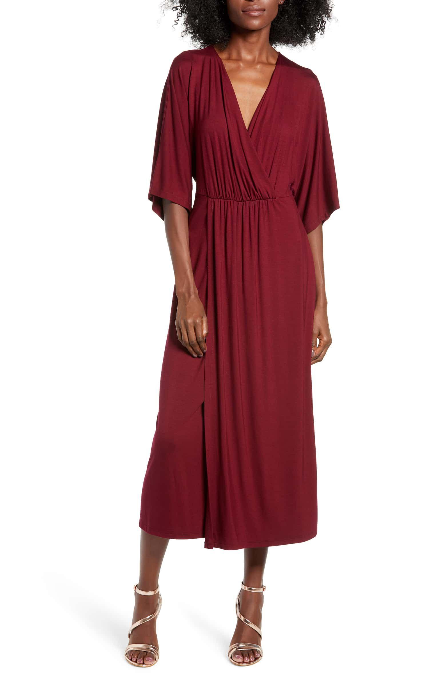 Kimono Sleeve Midi Dress Main Color Dark Wine Midi Dress With Sleeves Dresses Midi Dress [ 2392 x 1560 Pixel ]