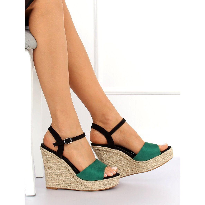 Espadryle Na Koturnie Zielone Ll 190 Green Espadrilles Shoes Wedge Espadrille