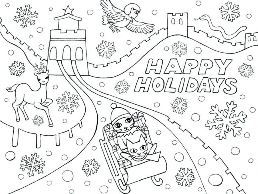 Winter Holiday Coloring Pages Coloring Pages Ideas Pinterest