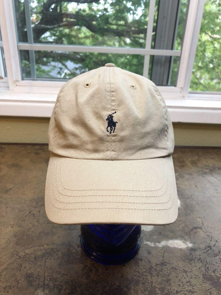 6020df465 Polo Ralph Lauren Hat 90s Vtg Leather Strap back Tan Cap Pony   PoloRalphLauren