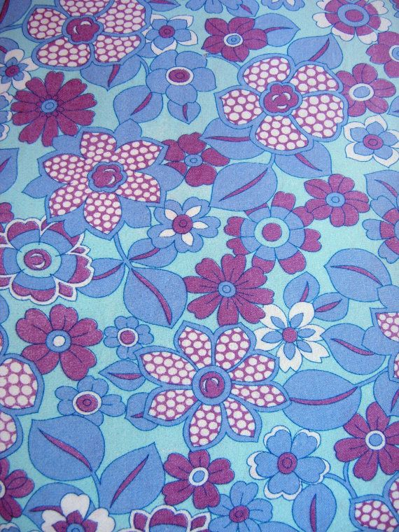 Vintage 1960s 70s Cotton Fabric, Retro Flower Power Fabric