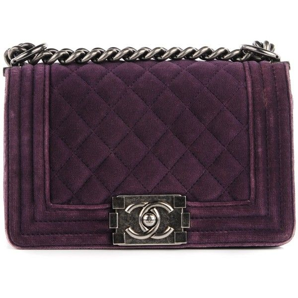 26802127ab543e CHANEL Velvet Quilted Small Boy Flap Purple ❤ liked on Polyvore featuring  bags, handbags, shoulder bags, chanel, velvet handbag, quilted purses,  chanel ...