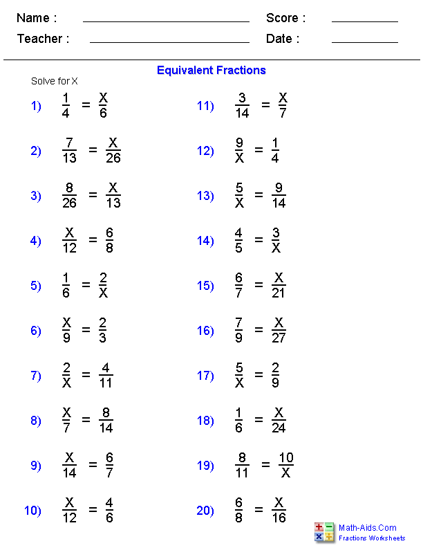 Equivalent Fraction Problems Worksheets | Fraction Worksheets ...