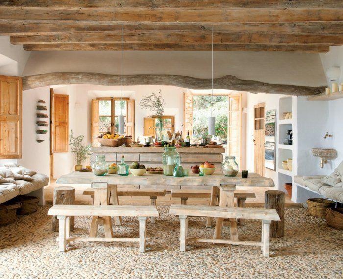 rustikale möbel küche wohnzimmer esstisch moderne hängeleuchten ...