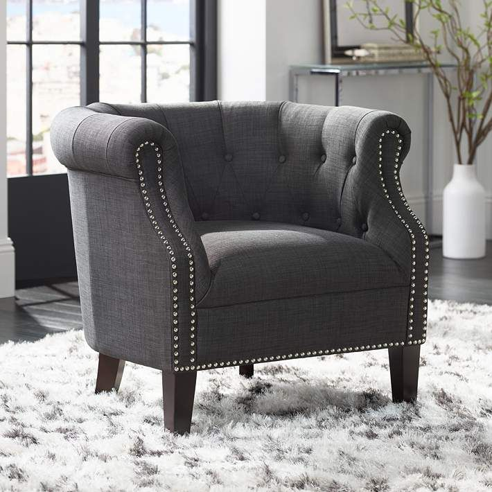 Neve Heirloom Charcoal Tufted Accent Chair