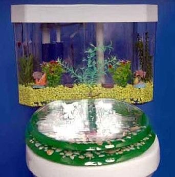 This Interesting Aquarium Toilet Looks To Be A Very Intricate Decorative Piece At First But It Is Actually Func Aquarium Decorations Aquarium Design Fish Tank