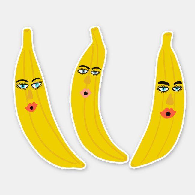 happy banana trio whimsical sticker  zazzle in 2020