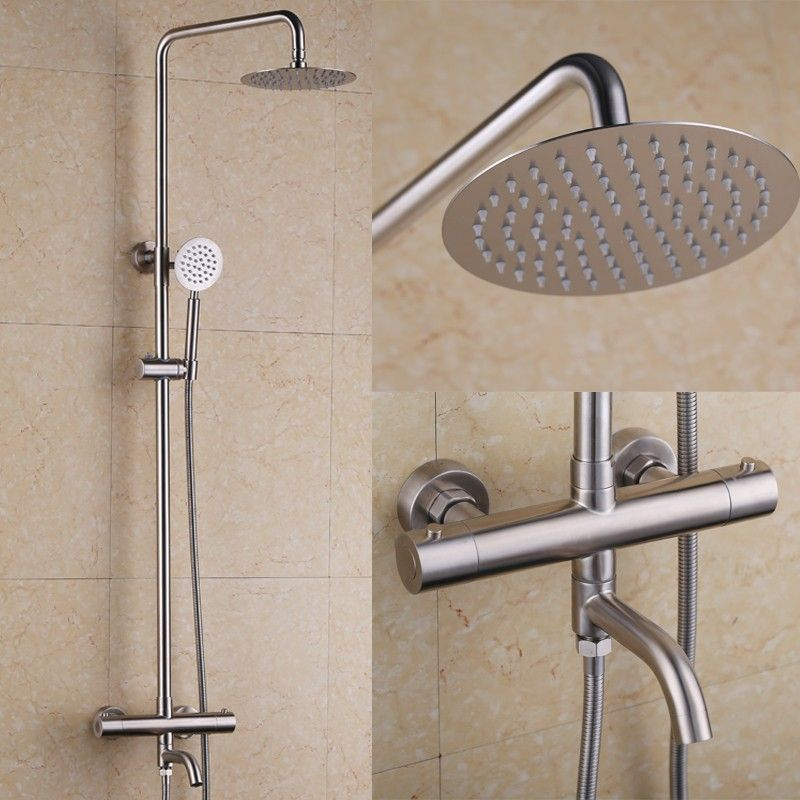 Stainless Steel Brushed Nickel Thermostatic Shower System With Tub