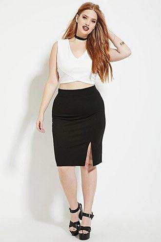 Plus Size Slit Pencil Skirt Forever 21 PLUS