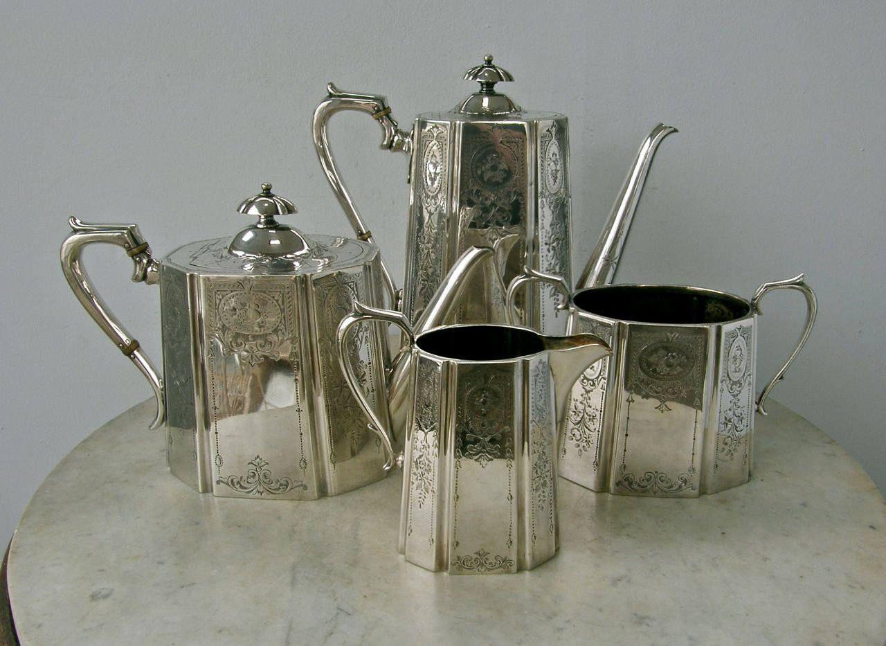 TEA & COFFEE SET 4 Piece English Silver Plate Coffee and