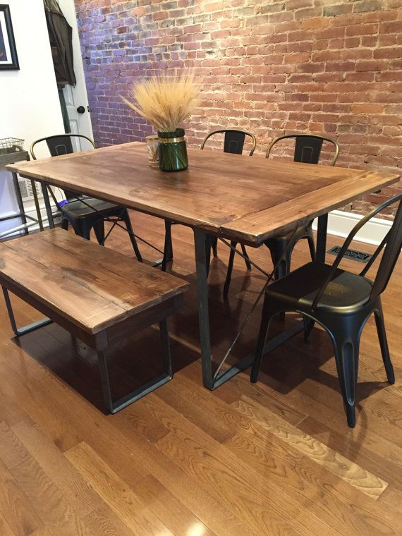Rustic Industrial Reclaimed Barn Wood Table with Square Metal Legs. Rustic Dining Table pairs with Bentwood Chairs   Bentwood chairs