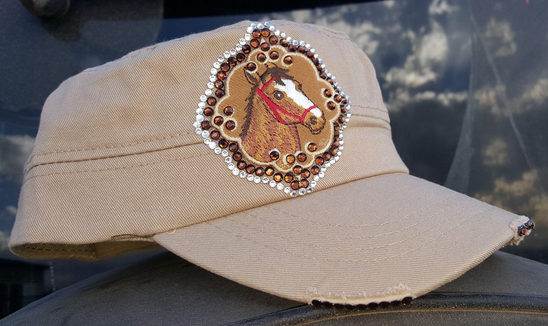 Custom 1 of a kind Khaki Horsehead & Bling Cap
