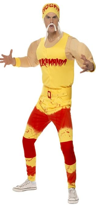 Hulk Hogan Men/'s Wrestling Wrestler 5 Piece Fancy Dress Stag Night Costume Kit