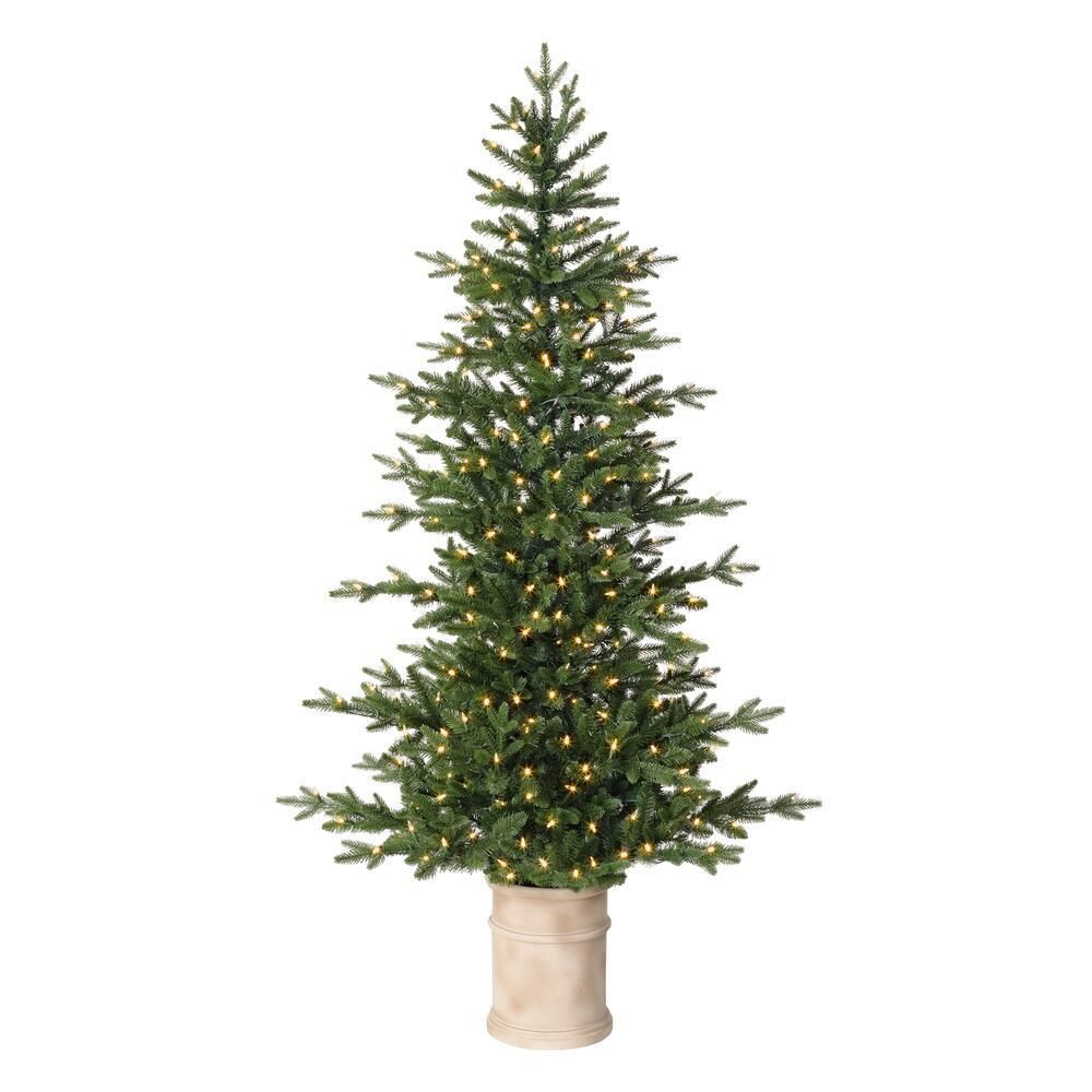 Home Accents Holiday 6 5 Ft Fir Led Pre Lit Potted Artificial Christmas Tree With 300 Warm White Lights Tv66p3c59l01 The Home Depot In 2020 Potted Christmas Trees Outdoor Christmas Tree Artificial Christmas Tree