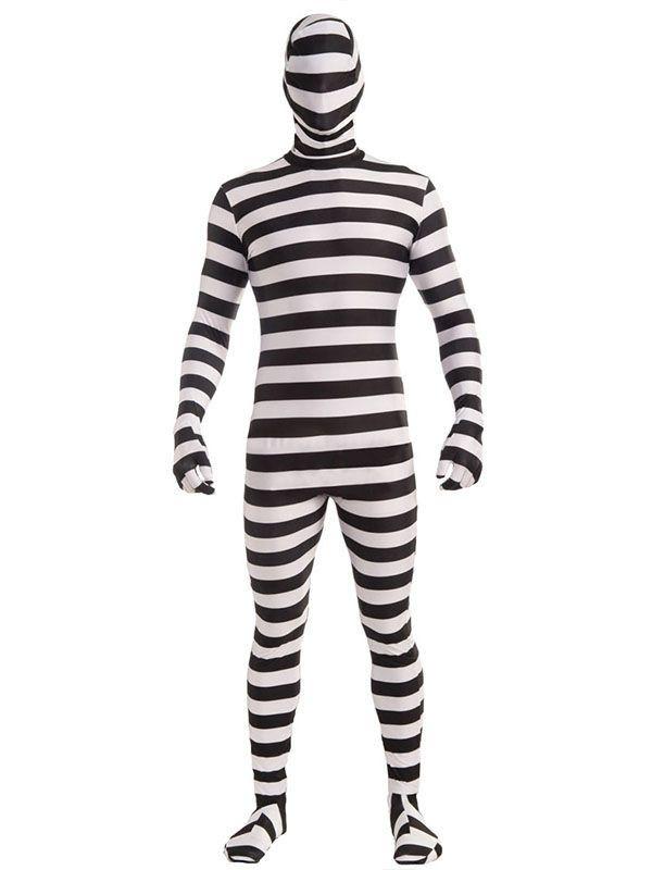 Prison Striped Jumpsuit Mens Fancy Dress Costume Cosplay Suit W