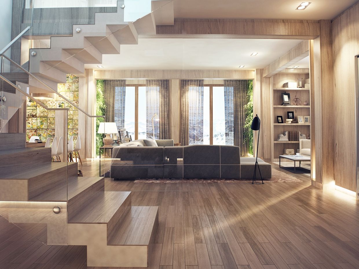 Exceptionnel An Open Plan Interior With Enticing Wood Interior Style | Beautiful Interior  Design, Interiors And Spaces