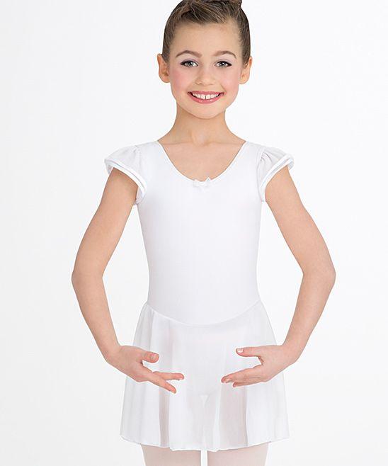 5c61795dd White Cap-Sleeve Skirted Leotard - Toddler   Girls