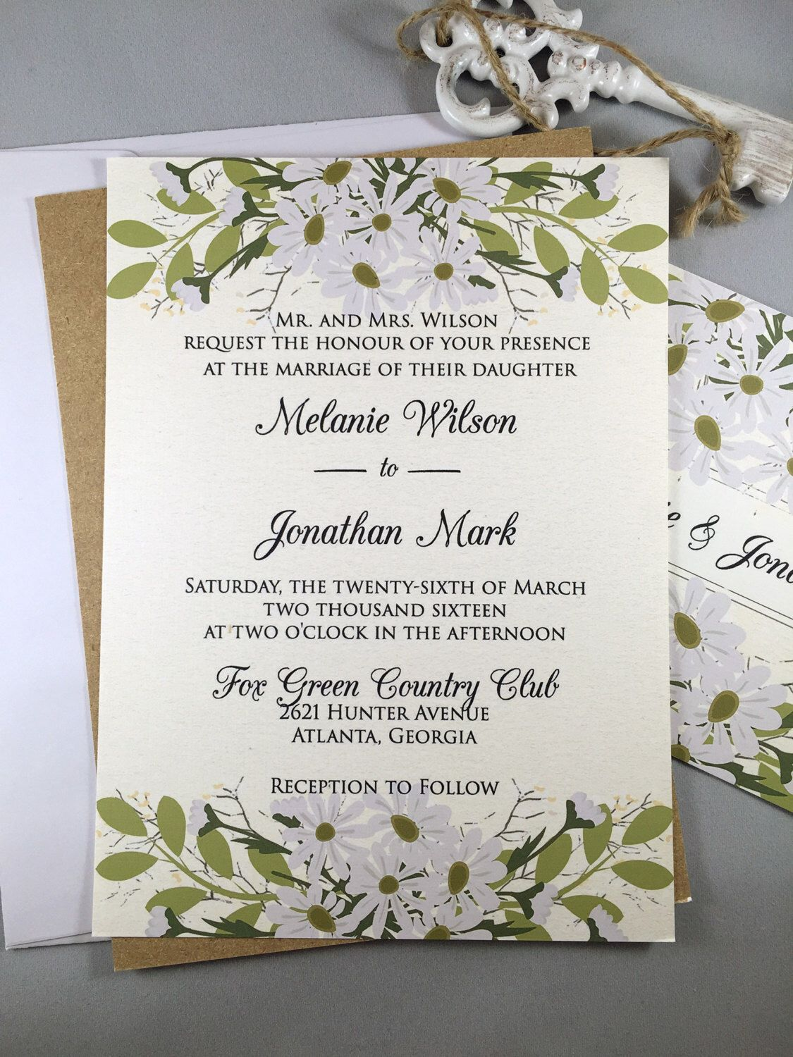 Rustic Wedding Invitation, Floral Wedding Invitation, Country ...