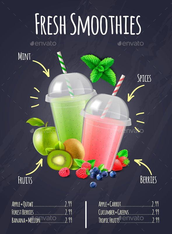 Fresh Smoothies Realistic Composition Fresh Smoothies Juice Bar Design Fresh Fruit Smoothies