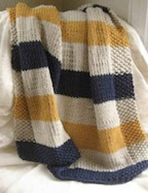 Pattern - Navy, Cream,and Mustard Baby Blanket
