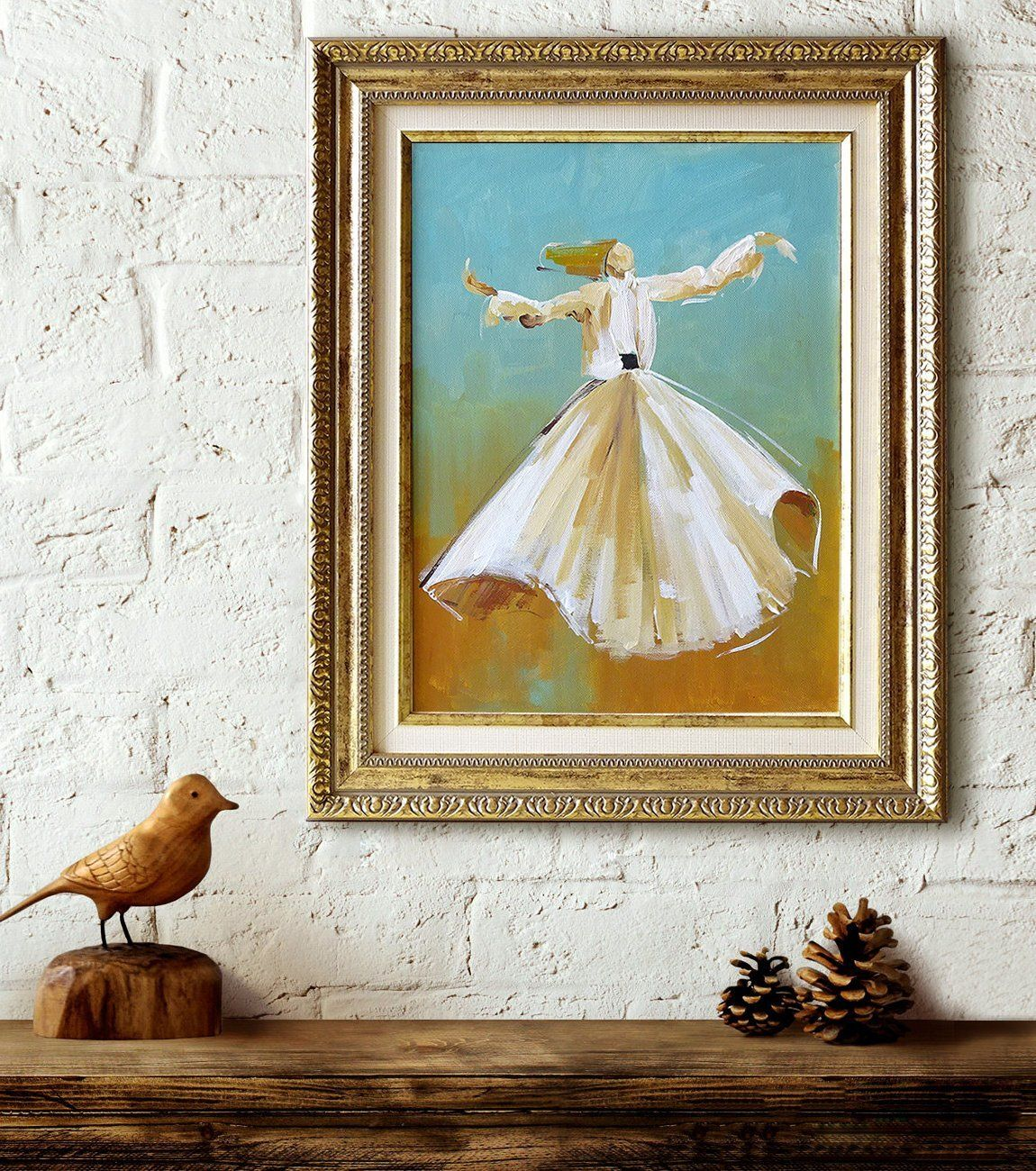 New In My Etsy Shop Whirling Dervish Original Canvas Art Art Painting Blue Birthday Bronze Isla Original Canvas Art Islamic Paintings Art Painting Oil