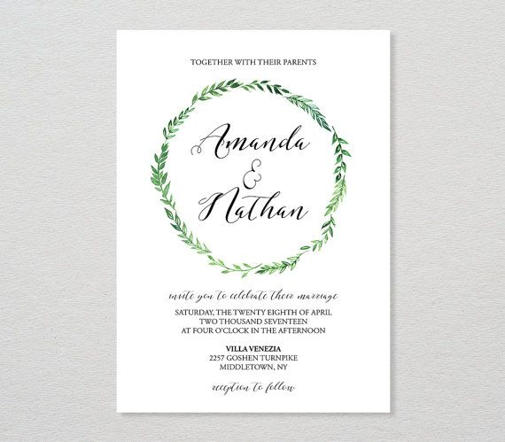 Wedding Invitation Template Printable Invite Diy Wedding